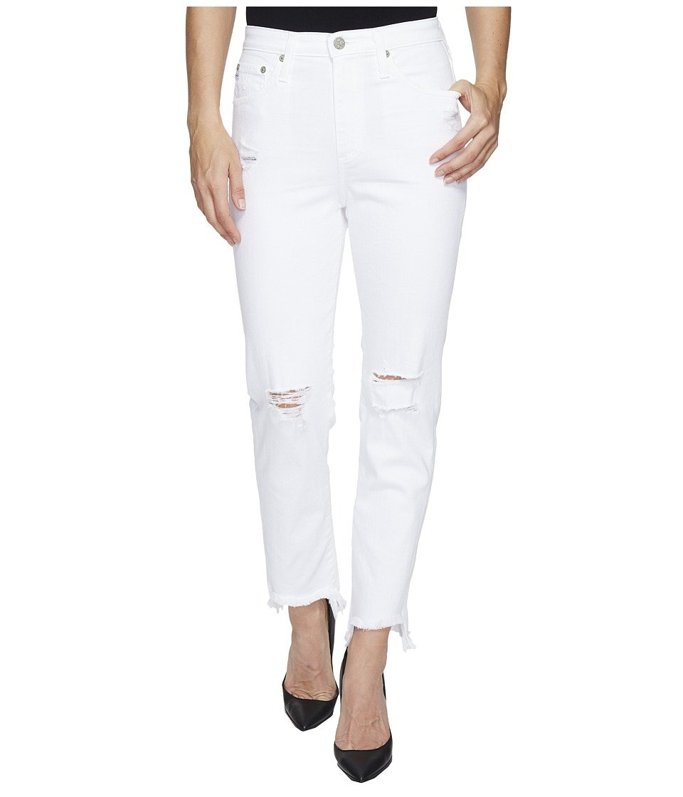 AG Adriano Goldschmied Phoebe High Waisted Tapered Leg in 5 Years White Frayed (5 Years White Frayed) Women