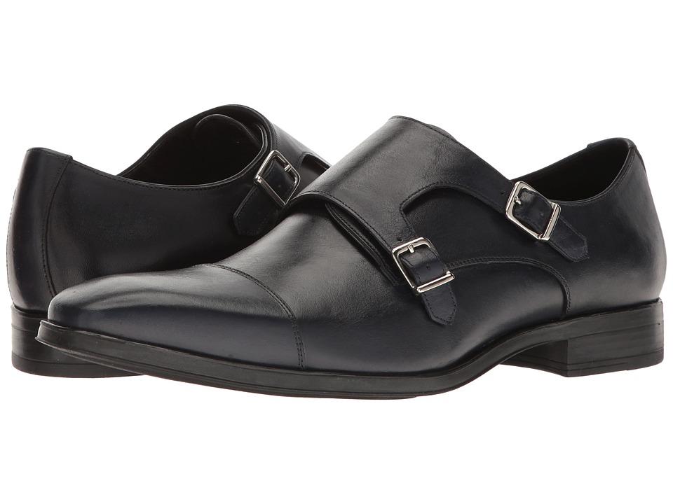 Massimo Matteo - Double Monk Classic (Navy) Men's Monkstrap Shoes