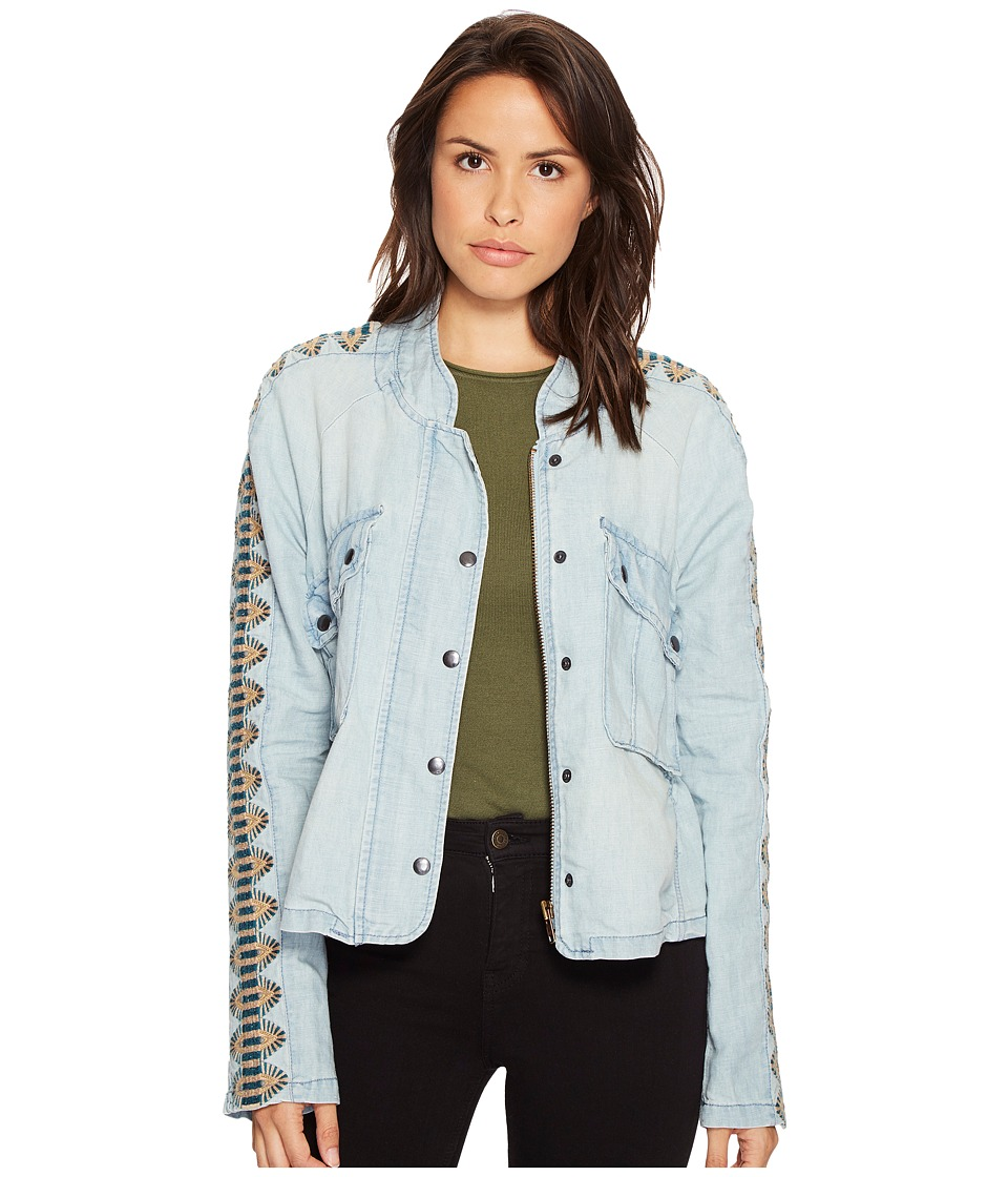 Free People - Embroidered Chambray Jacket (Blue) Women's Coat