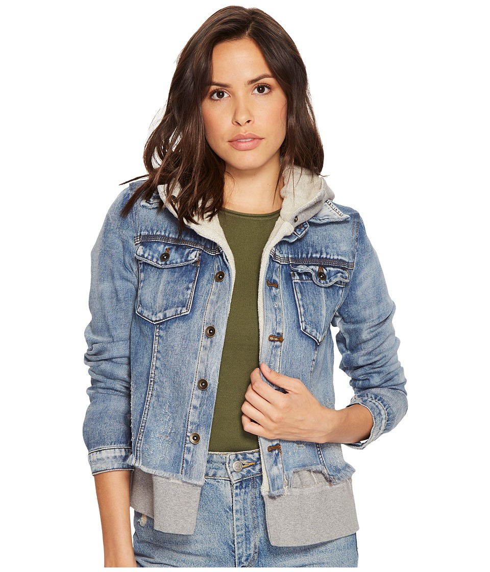 Free People - Double Weave Denim Jacket (Blue) Women's Coat
