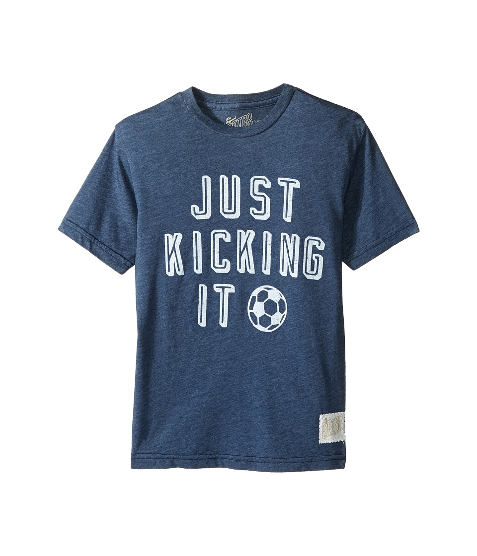 The Original Retro Brand Kids - Just Kicking It Short Sleeve Heathered Soccer Tee (Big Kids) (Heather Navy) Boy's T Shirt
