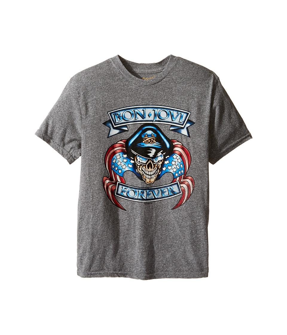 The Original Retro Brand Kids - Short Sleeve Tri-Blend Bon Jovi Tee (Big Kids) (Streaky Grey) Boy's T Shirt