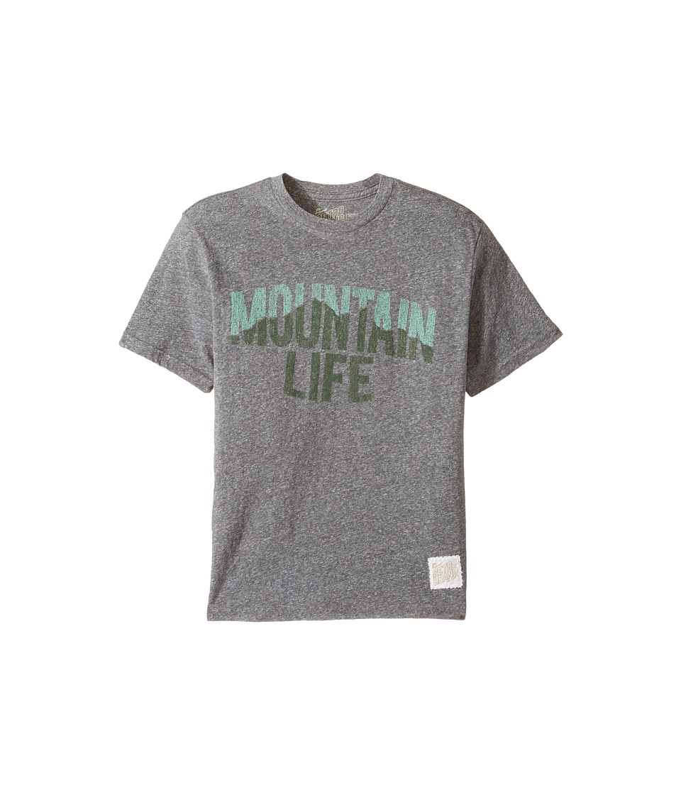 The Original Retro Brand Kids - Mountain Life Short Sleeve Tri-Blend Tee (Big Kids) (Streaky Grey) Boy's T Shirt