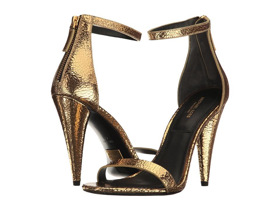 Michael Kors Ramsey (Black Gold Cracked Metallic Leather) High Heels