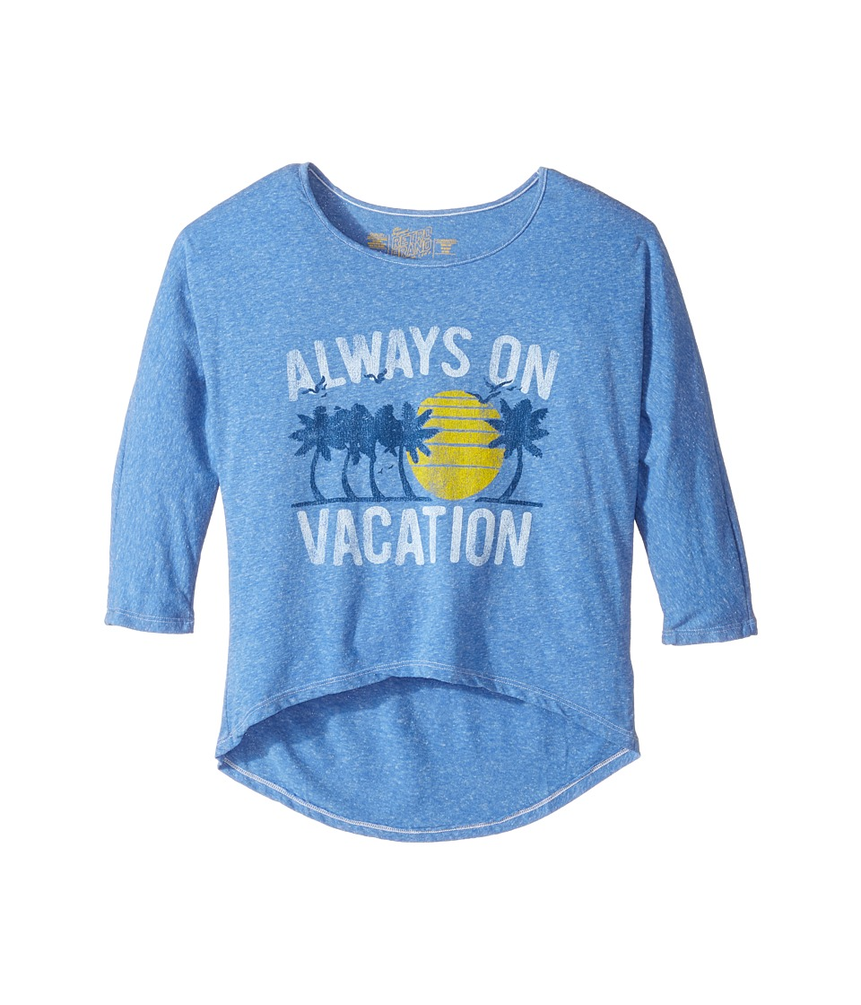 The Original Retro Brand Kids - Living in Paradise 3/4 Tri-Blend Dolman (Big Kids) (Streaky Royal) Girl's Clothing