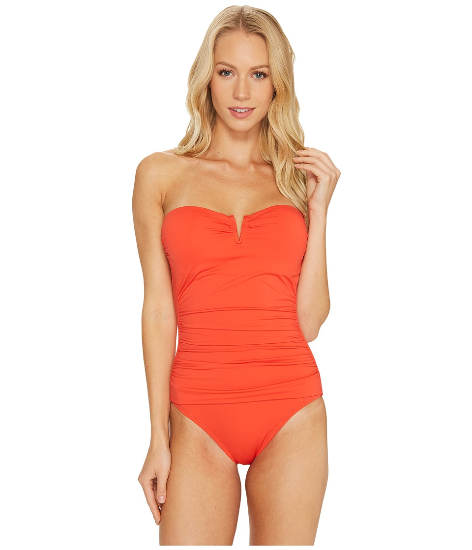Tommy Bahama Pearl V-Front Bandeau One-Piece Swimsuit (Valencia Orange) Women