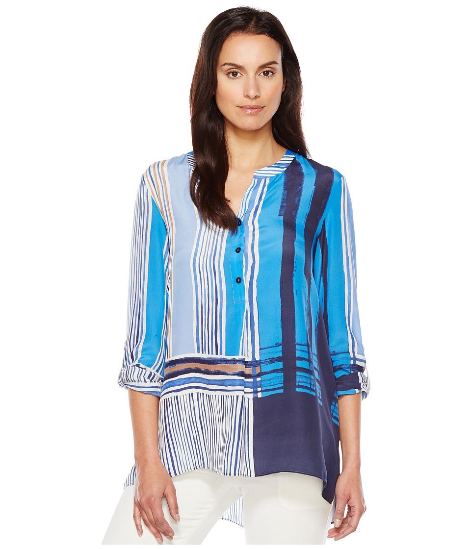 NIC+ZOE - Blue Blocks Top (Multi) Women's Clothing