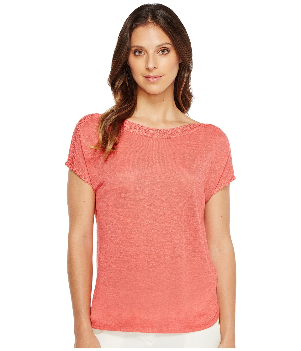 NIC+ZOE - Crochet Trim Tee (Coral Crush) Women's T Shirt