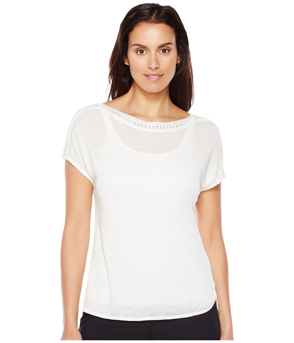 NIC+ZOE - Crochet Trim Tee (Paper White) Women's T Shirt
