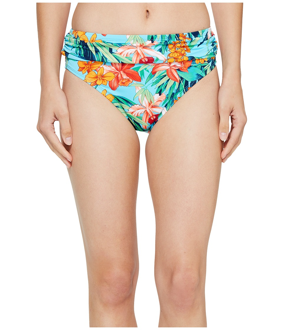 Tommy Bahama Floriana High-Waist Sash Bikini Bottom (True Turquoise) Women