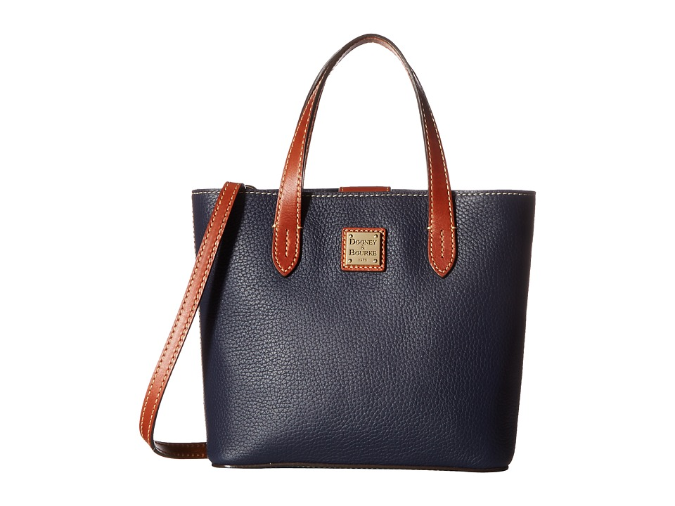 Dooney & Bourke - Pebble Mini Waverly (Midnight Blue w/ Tan Trim) Handbags
