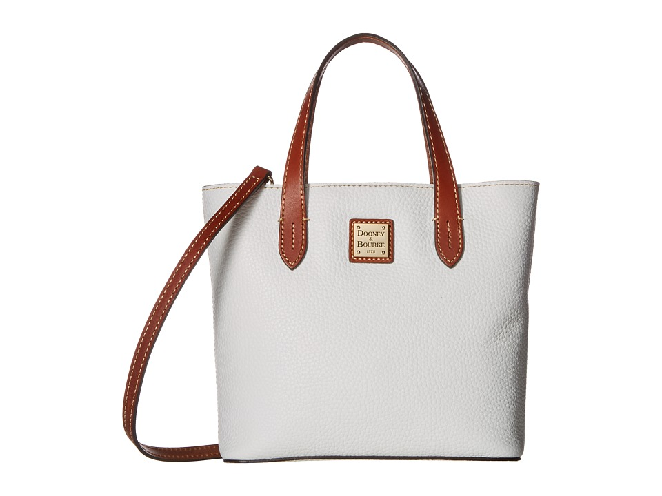 Dooney & Bourke - Pebble Mini Waverly (White w/ Tan Trim) Handbags