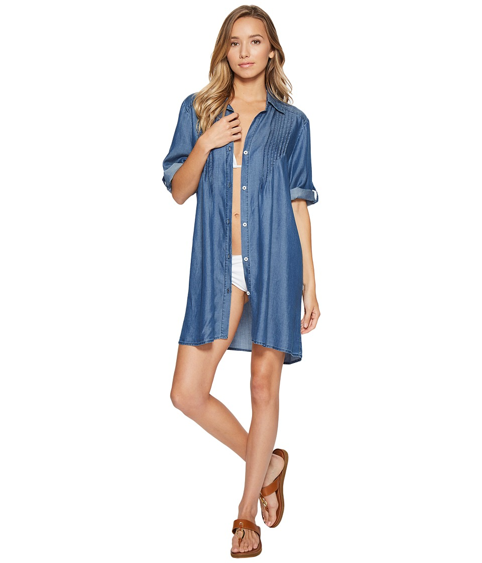 Tommy Bahama - Chambray Pintuck Tunic Cover-Up (Chambray) Women's Swimwear