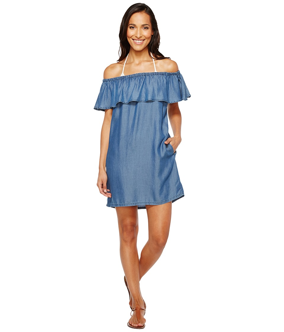 Tommy Bahama Chambray Off the Shoulder Dress Cover-Up Chambray Swimwear