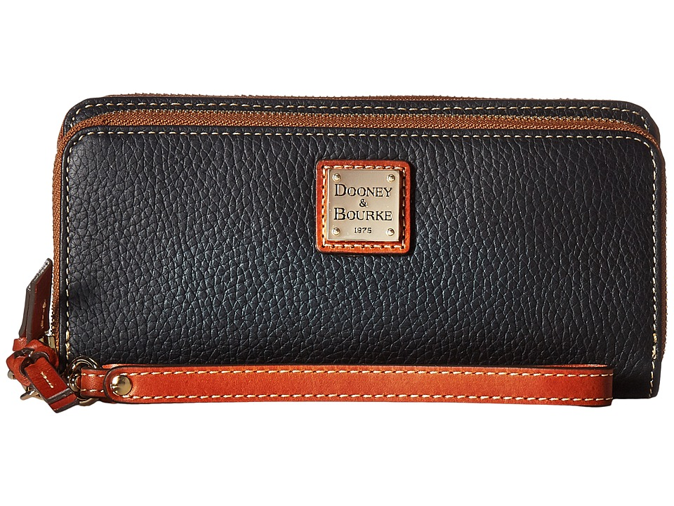 Dooney & Bourke - Pebble Double Zip Wallet (Black w/ Tan Trim) Wallet Handbags