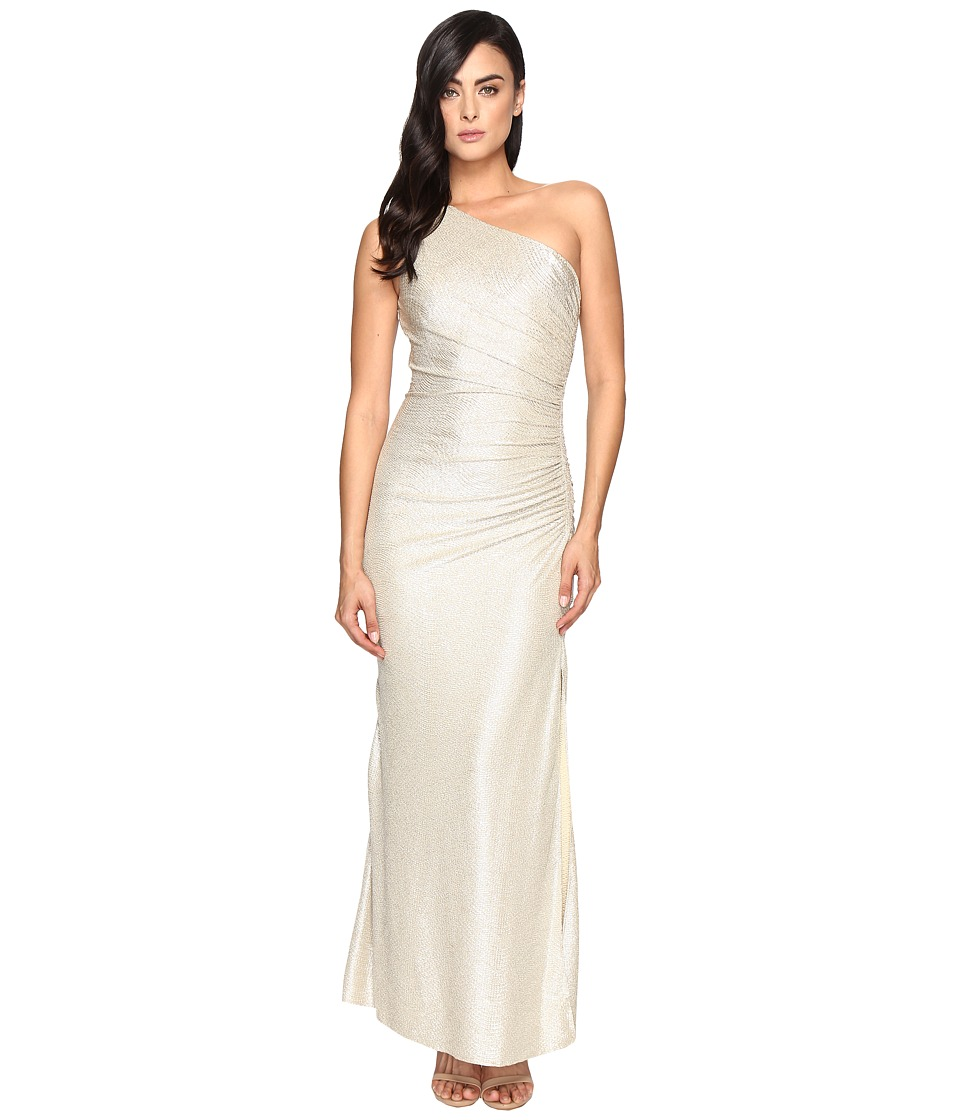 Laundry by Shelli Segal One Shoulder Foil Gown Gold-Silver Dress