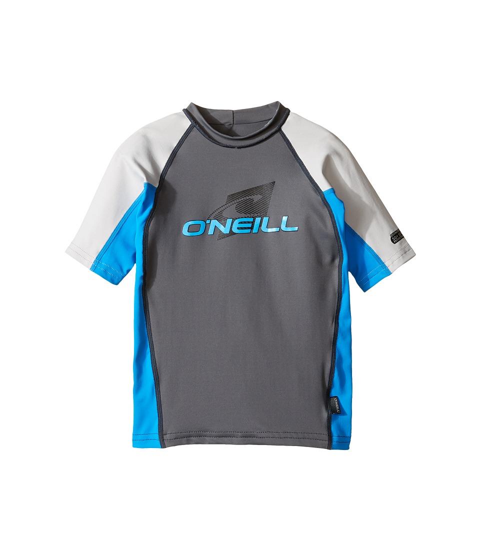 O'Neill Kids - Skins Short Sleeve Crew (Little Kids/Big Kids) (Graphite/Brite Blue/Lunar) Kid's Swimwear