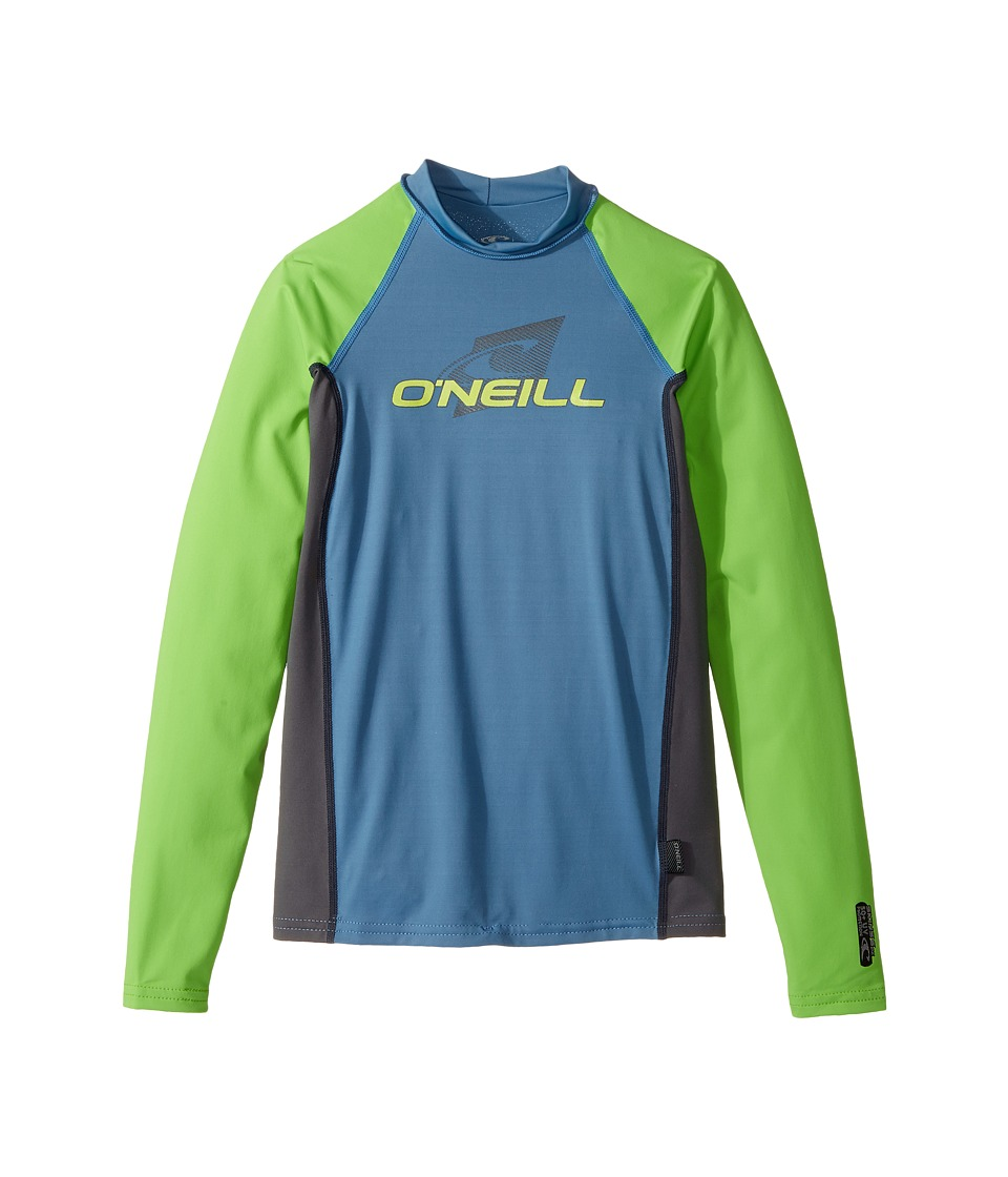 O'Neill Kids - Skins Long Sleeve Crew (Little Kids/Big Kids) (Dusty Blue/Grahite/Dayglo) Kid's Swimwear