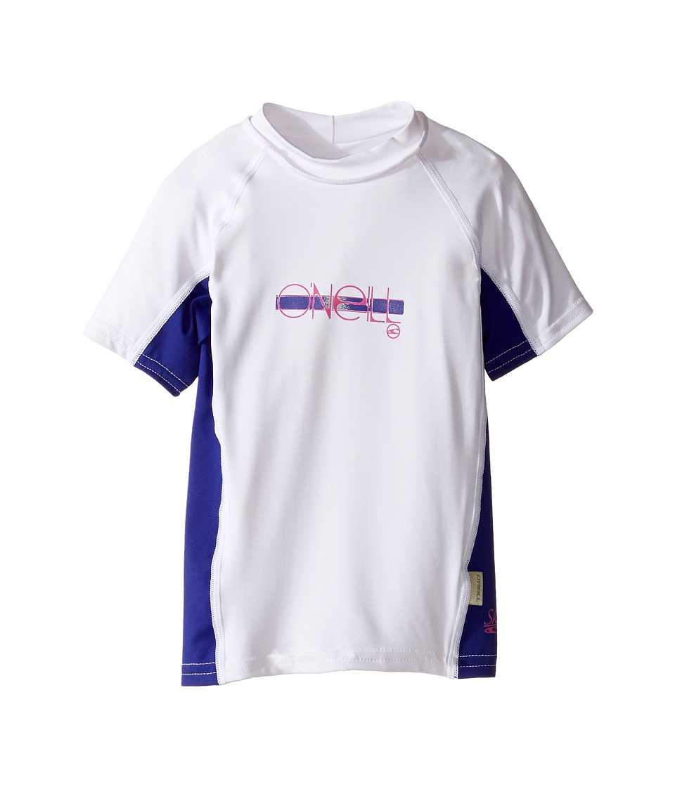 O'Neill Kids - Skins Short Sleeve Crew (Little Kids/Big Kids) (White/Cobalt/White) Girl's Swimwear