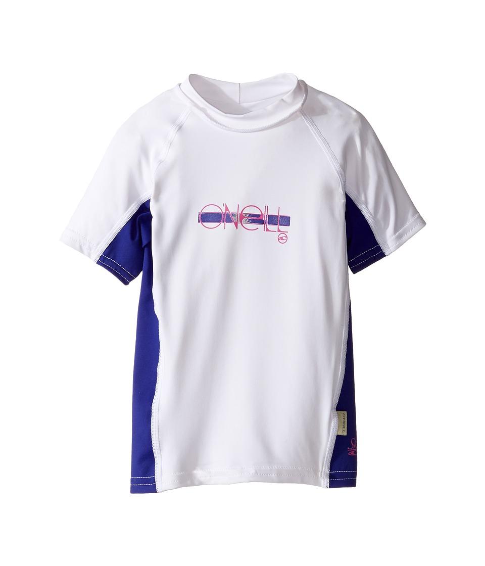 O'Neill Kids - Skins Short Sleeve Crew (Little Kids/Big Kids) (White/Cobalt/White) Girl's Swimwear