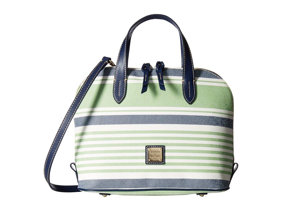 Dooney & Bourke - Westerley Zip Zip Satchel (Green/Navy w/ Marine Trim) Satchel Handbags