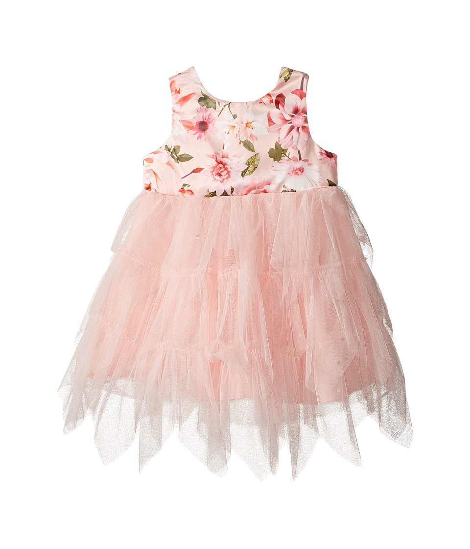 Nanette Lepore Kids - Matte Printed Satin with Tulle (Infant) (Peach) Girl's Dress