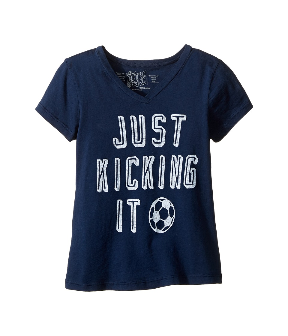 The Original Retro Brand Kids - Just Kicking It Short Sleeve V-Neck Tee (Big Kids) (Navy) Girl's T Shirt