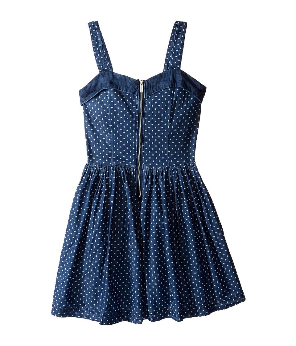 Nanette Lepore Kids - Polka Dot Denim Dress w/ Tulle (Little Kids/Big Kids) (Med Stone) Girl's Dress