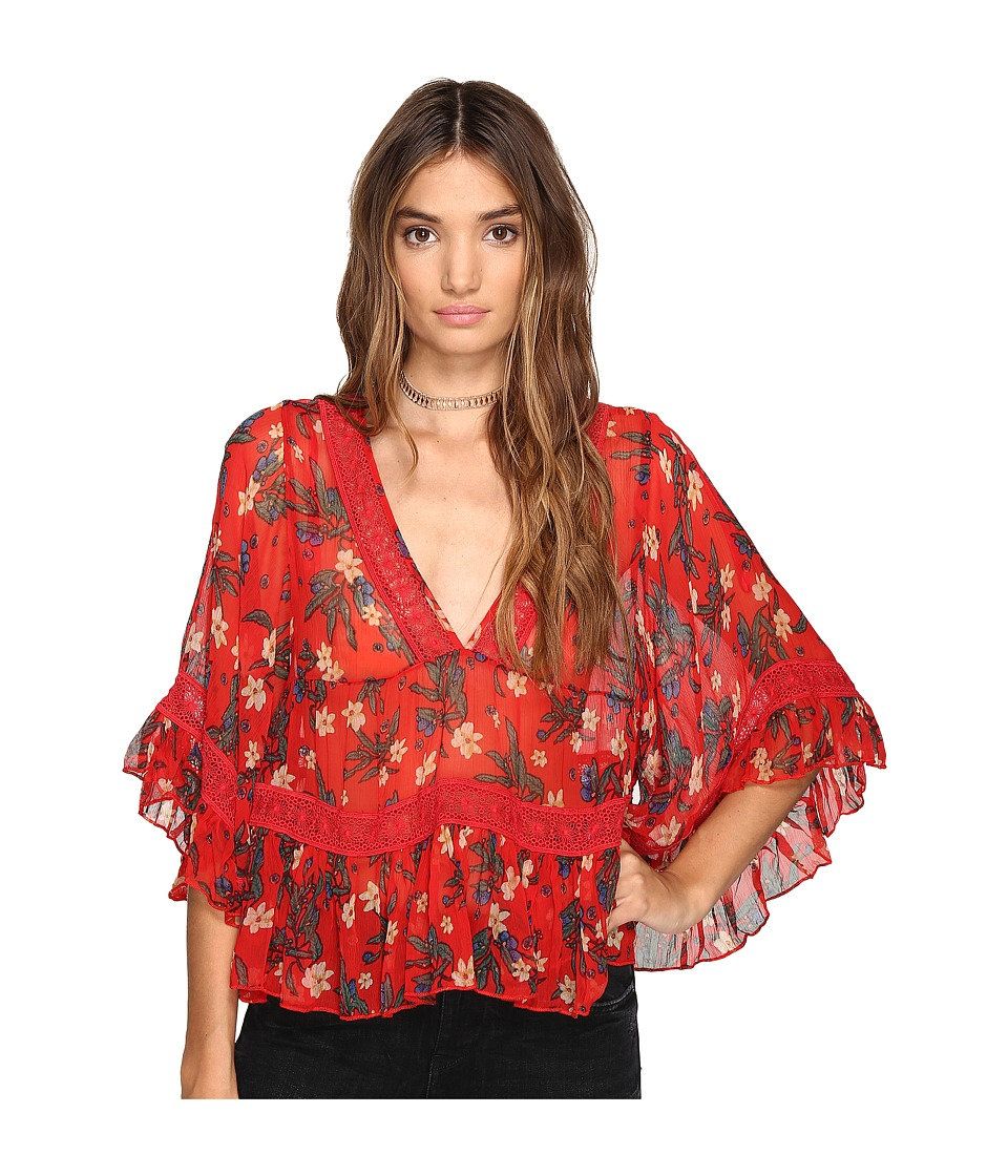 Free People - Bright Lights Embroidered Top (Red) Women's Clothing
