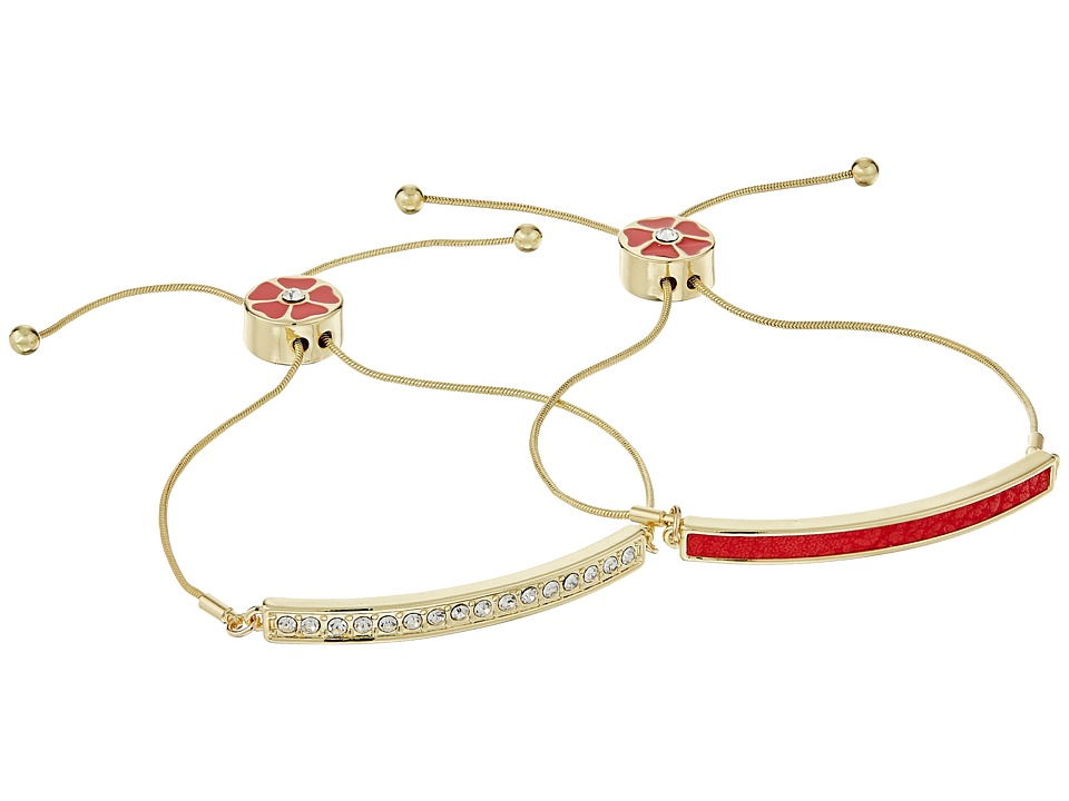 GUESS - Bar Friendship Slider Bracelet Duo (Gold/Coral) Bracelet