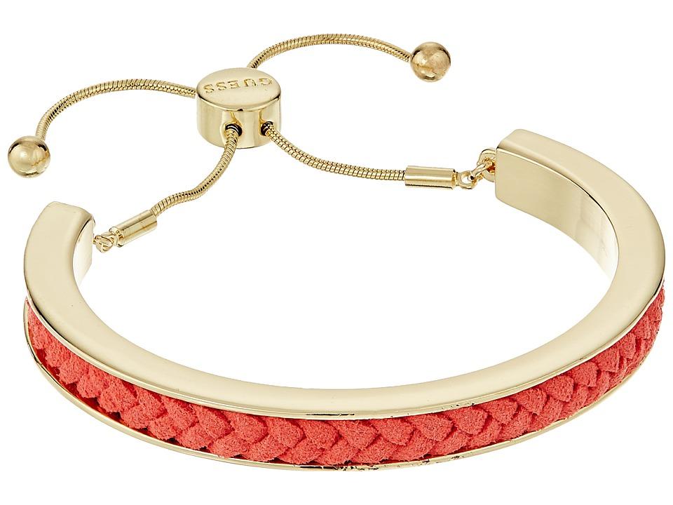 GUESS - Braided Cord Inset Slider Bracelet (Gold/Coral) Bracelet