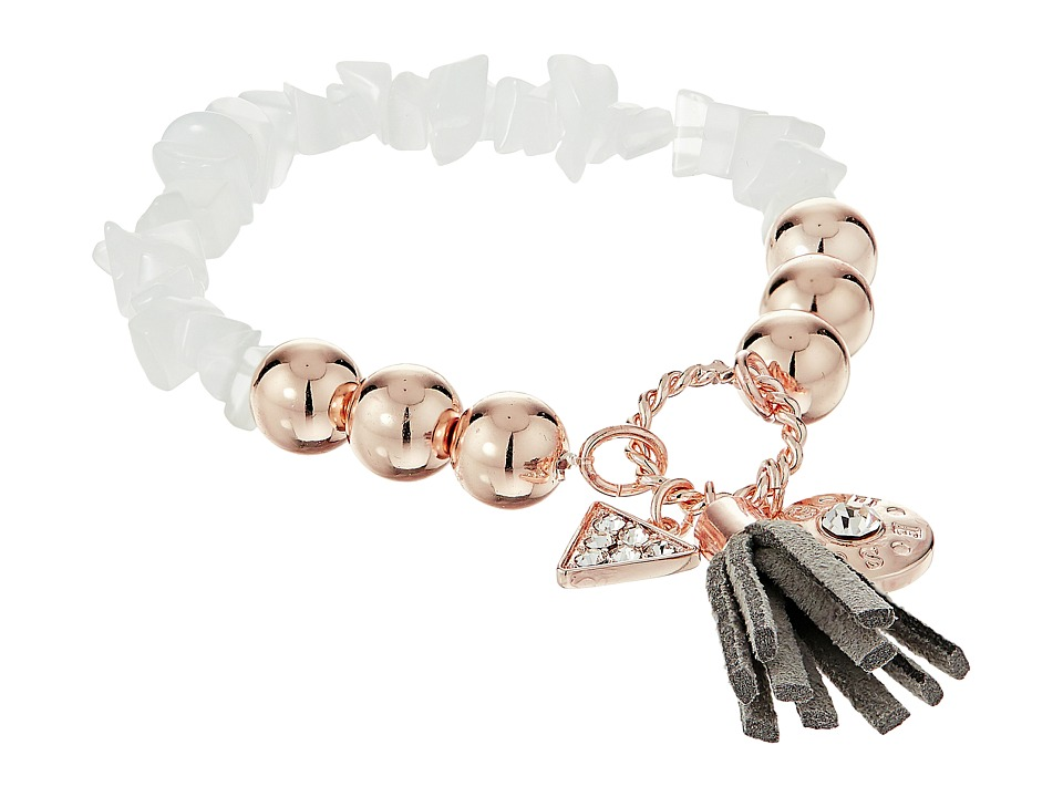 GUESS - Stretch Bracelet with Logo Button, Triangle and Tassel (Rose Gold/Grey/Crystal) Bracelet
