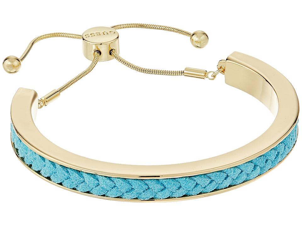 GUESS - Braided Cord Inset Slider Bracelet (Gold/Teal) Bracelet