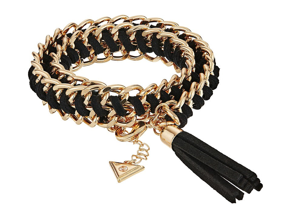 GUESS - Woven Chain Wrap Bracelet with Tassel (Gold/Jet) Bracelet