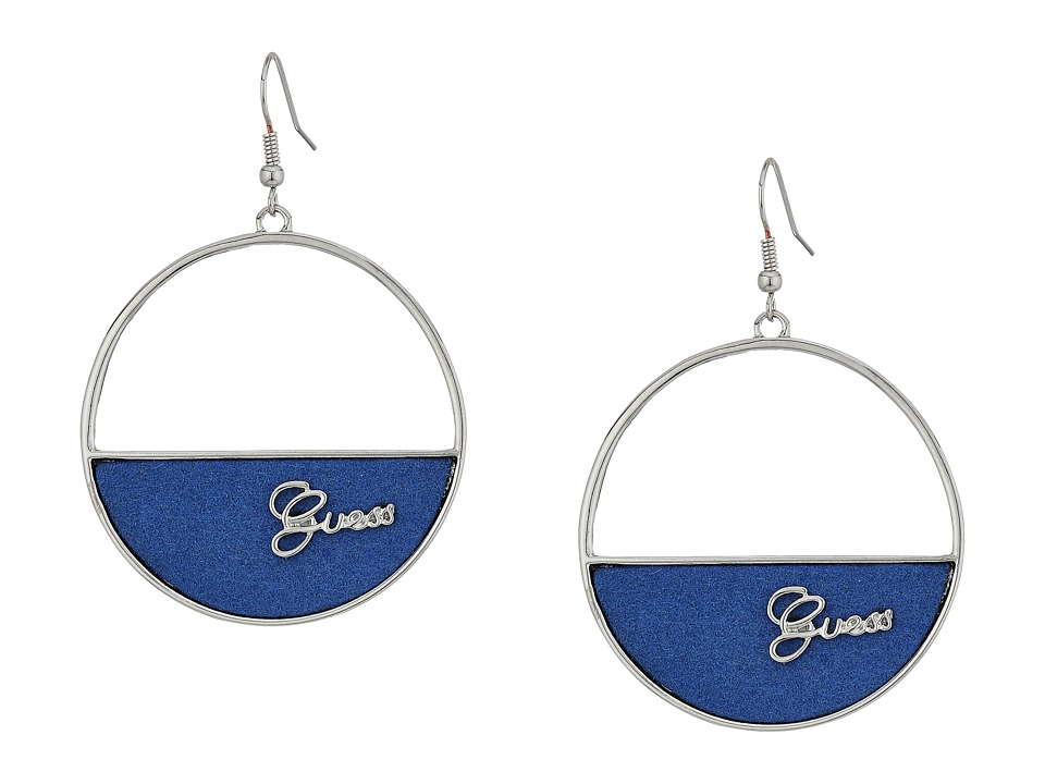 GUESS - Half Filled Circle Disc Drop Earrings (Silver/Denim Blue) Earring