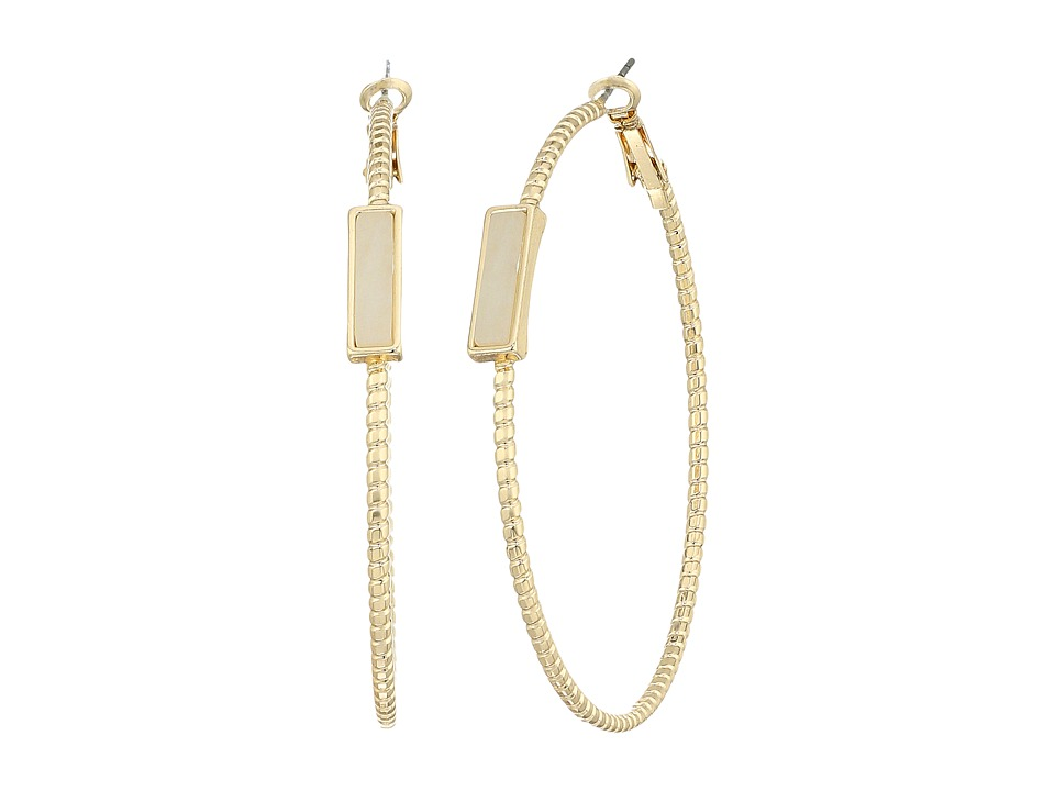 GUESS - Large Hoop with Side Stone Detail Earrings (Gold/Off-White) Earring