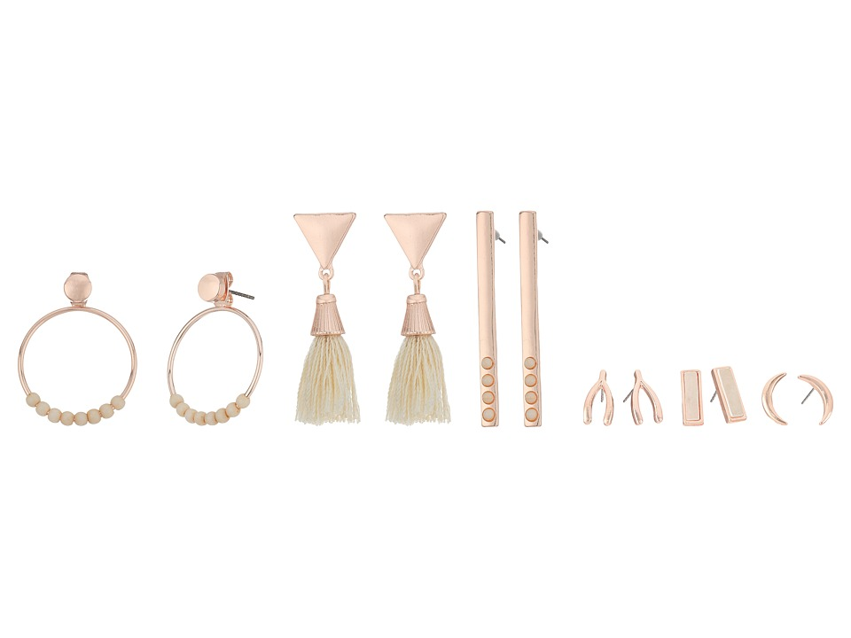 GUESS - 6 on Ear Set with Studs, Linears and Front Backs Earrings (Rose Gold/Off-White) Earring