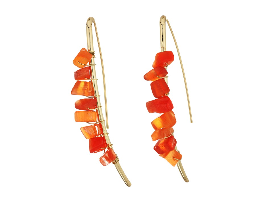 GUESS - Stone Nuggets on Shepherds Hoop Earrings (Gold/Coral) Earring