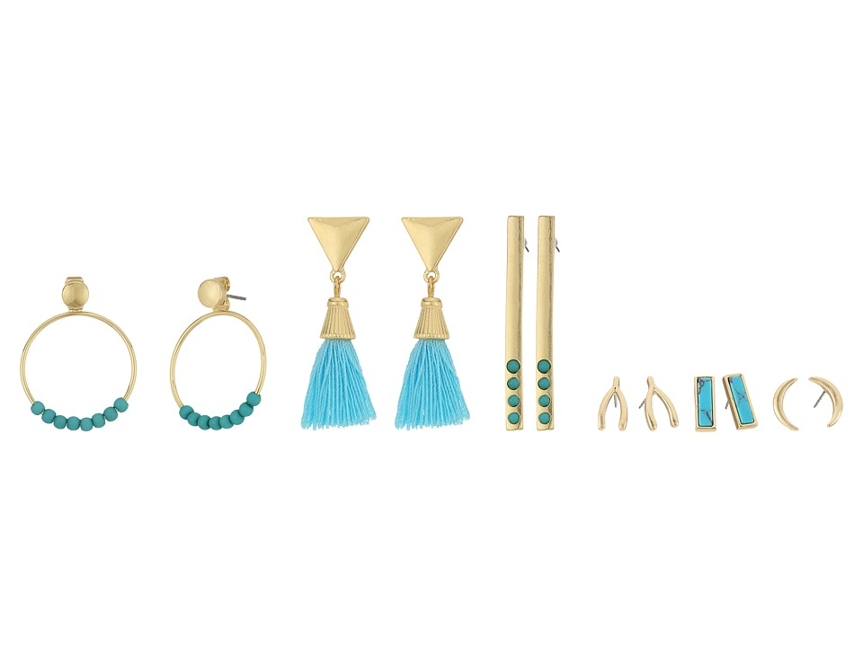 GUESS - 6 on Ear Set with Studs, Linears and Front Backs Earrings (Gold/Turquoise) Earring