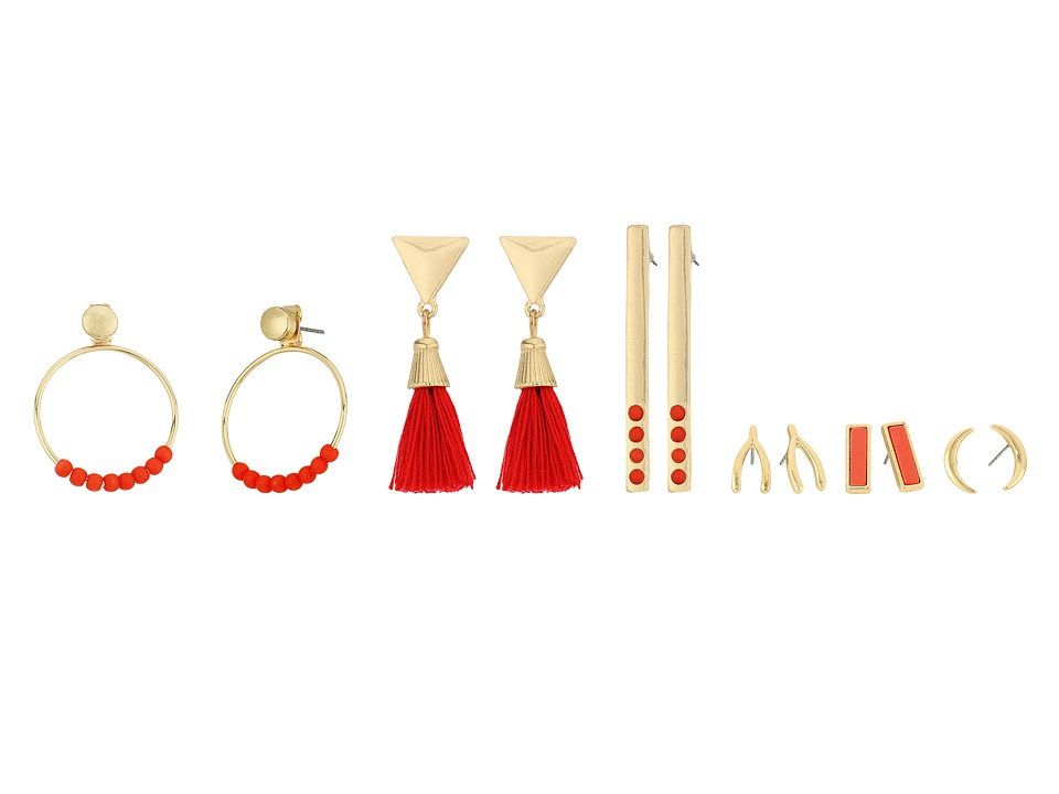 GUESS - 6 on Ear Set with Studs, Linears and Front Backs Earrings (Gold/Coral) Earring