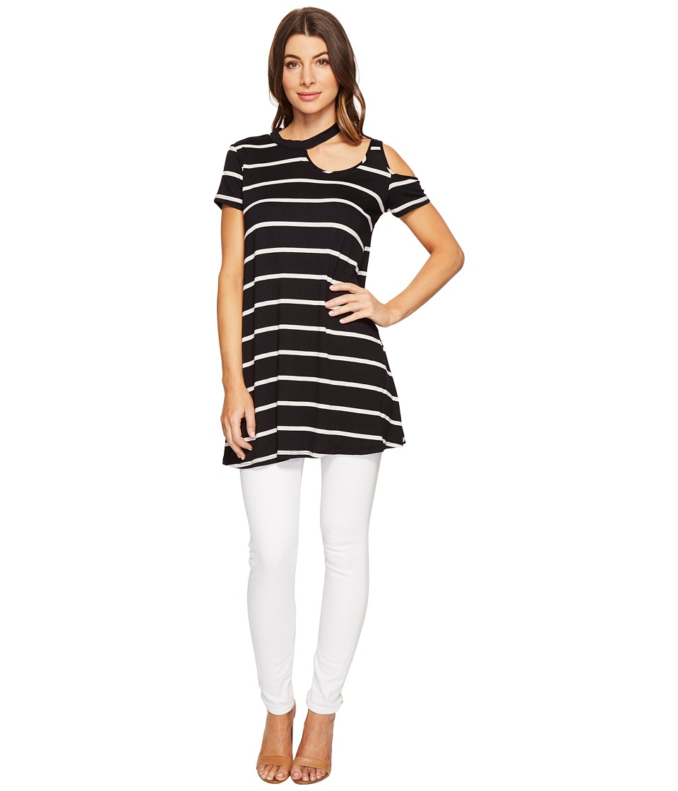 Culture Phit - Kameron Striped Cut Out Tunic (Black/White) Women's Blouse