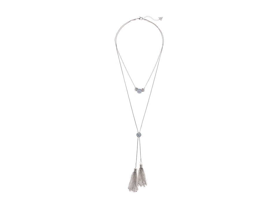 GUESS - Double Strand Neck Pendant and Y Necklace (Silver/Chambray) Necklace
