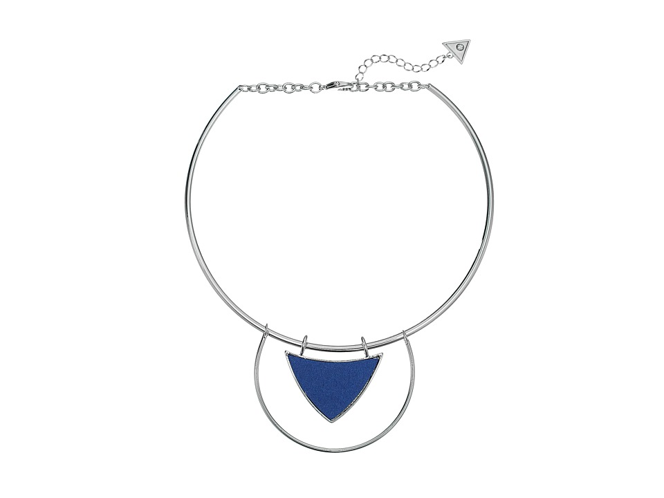 GUESS - Geometric Collar Necklace (Silver/Denim Blue) Necklace