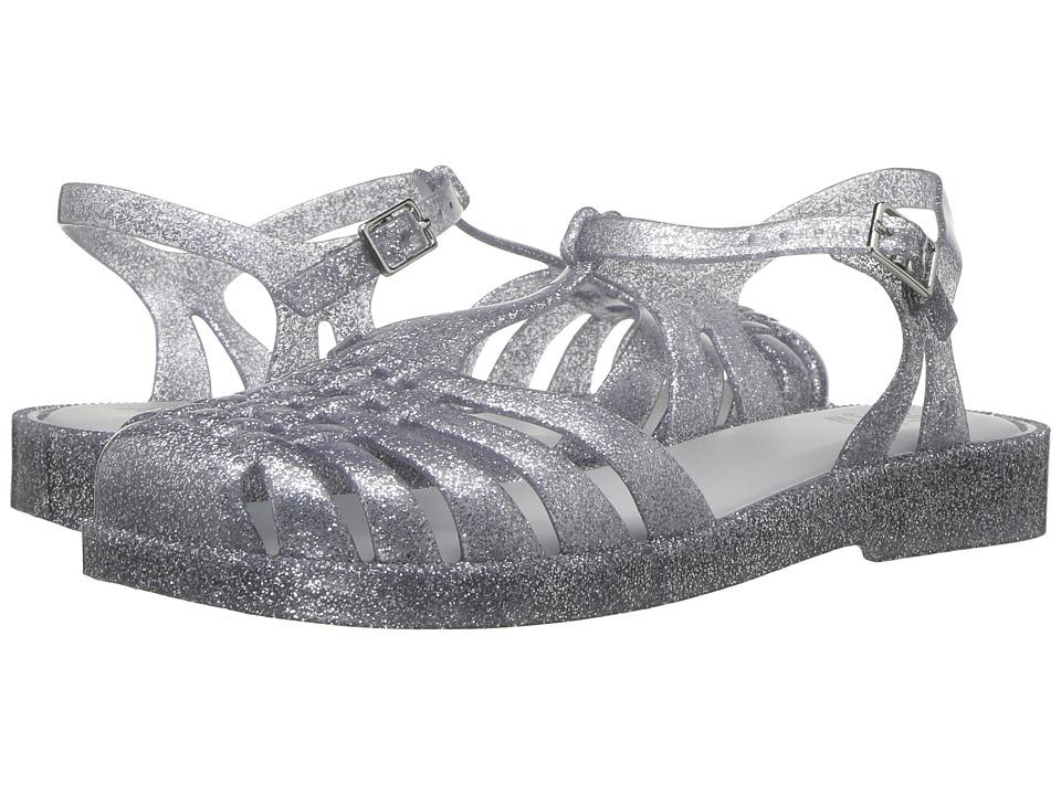 Mini Melissa - Mel Aranha Quadrada (Little Kid/Big Kid) (Silver/Gold Glitter) Girl's Shoes