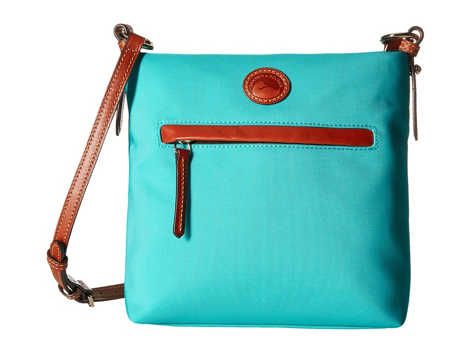 Dooney & Bourke - Nylon Daisy Letter Carrier (Aqua w/ Tan Trim) Handbags