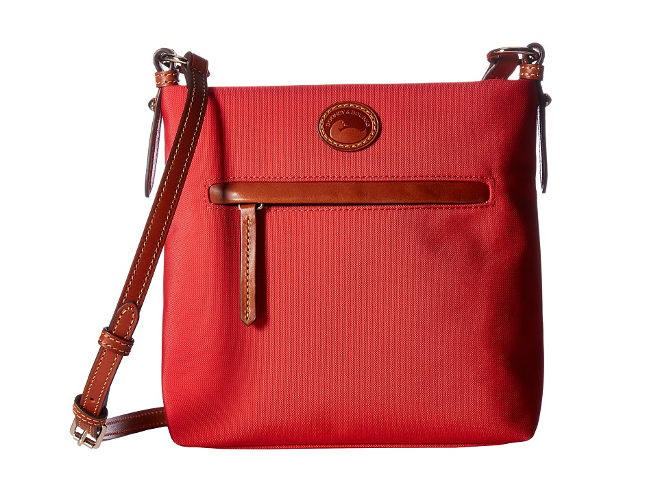 Dooney & Bourke - Nylon Daisy Letter Carrier (Red w/ Tan Trim) Handbags