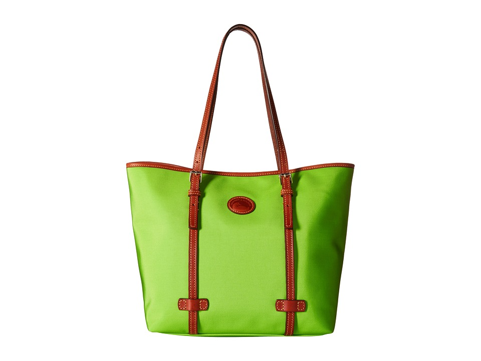 Dooney & Bourke - Nylon East/West Shopper (Apple Green w/ Tan Trim) Handbags
