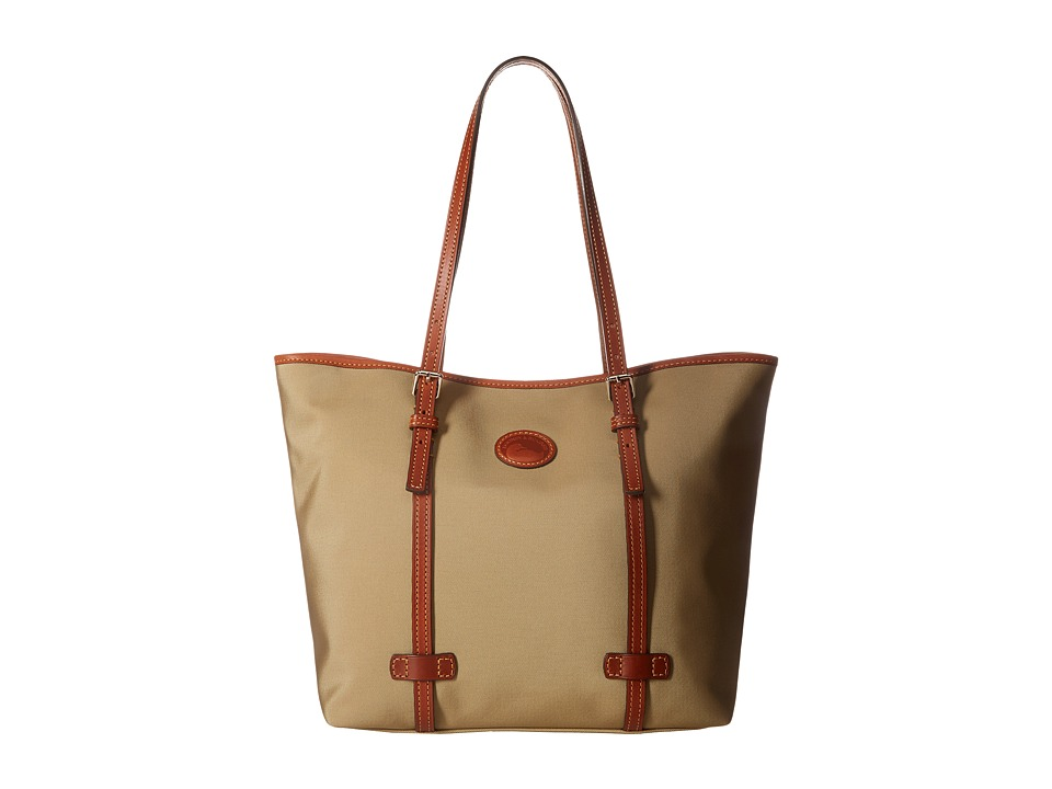 Dooney & Bourke - Nylon East/West Shopper (Khaki w/ Tan Trim) Handbags