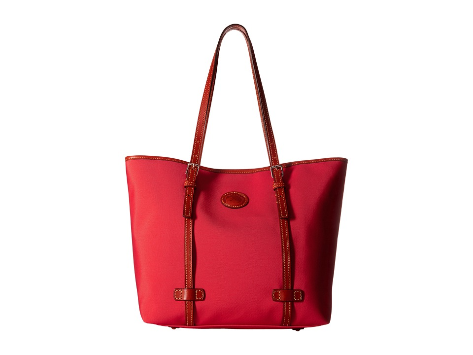 Dooney & Bourke - Nylon East/West Shopper (Red w/ Tan Trim) Handbags