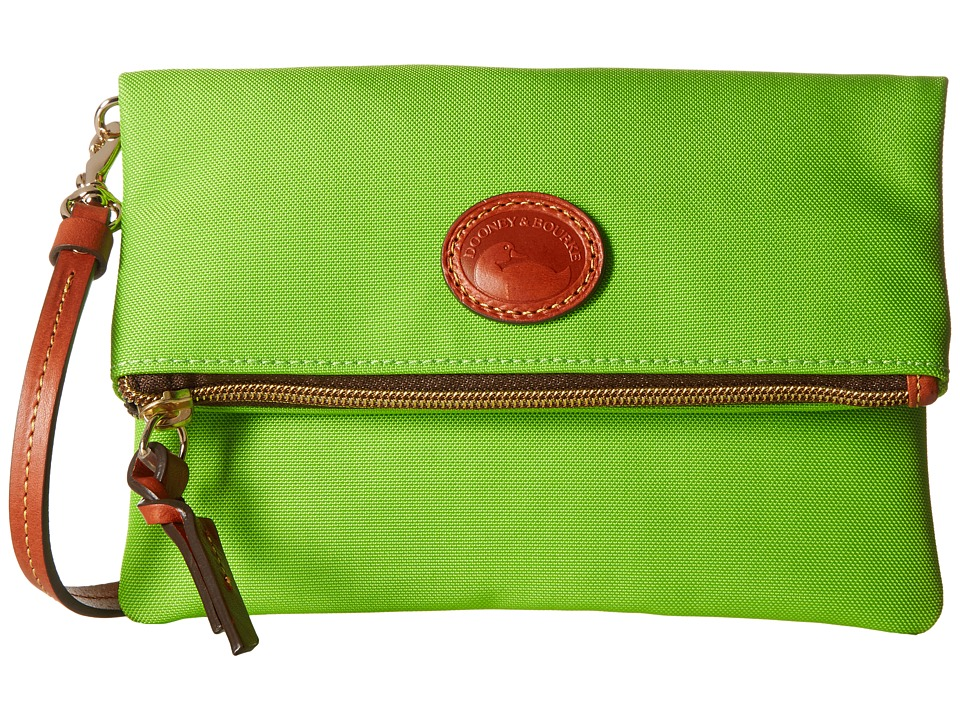 Dooney & Bourke - Nylon Fold-Over Zip Crossbody (Apple Green w/ Tan Trim) Handbags